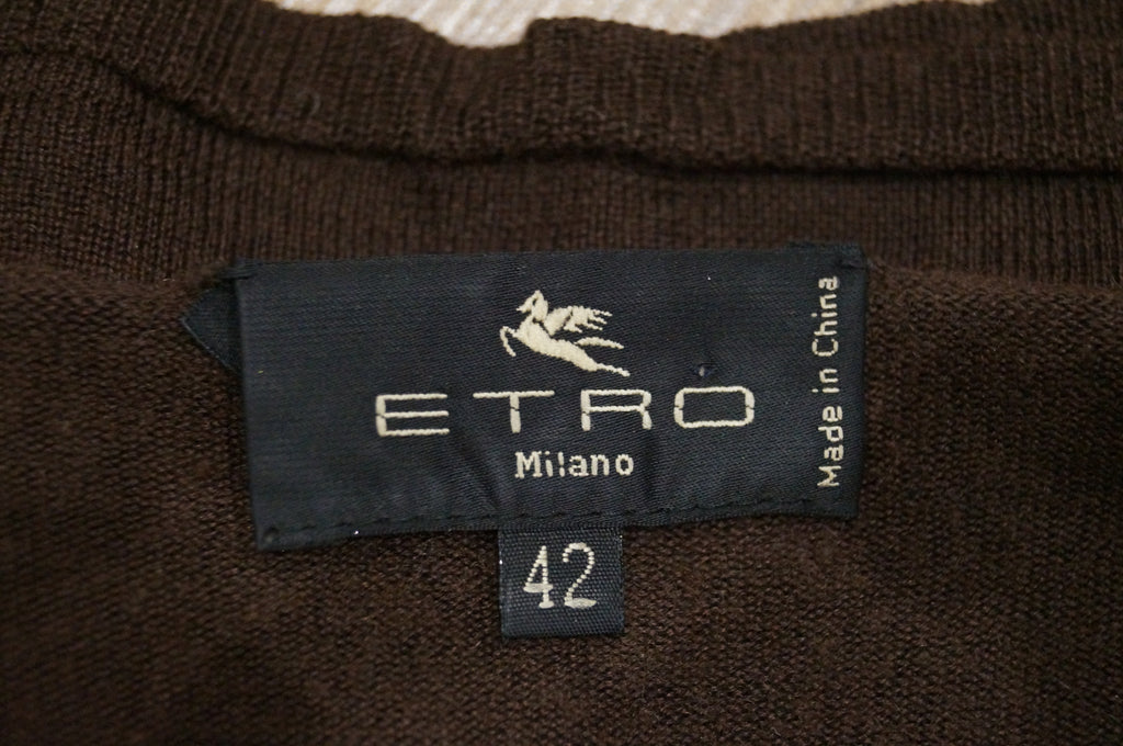 ETRO MILANO Women's Brown Silk & Cashmere Round Neck Jumper Sweater Top 42 UK10