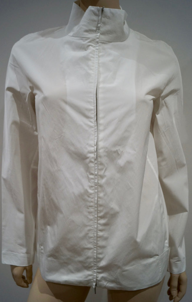CALVIN KLEIN COLLECTION Winter White Zipper Front Casual Jacket Top IT40 UK8