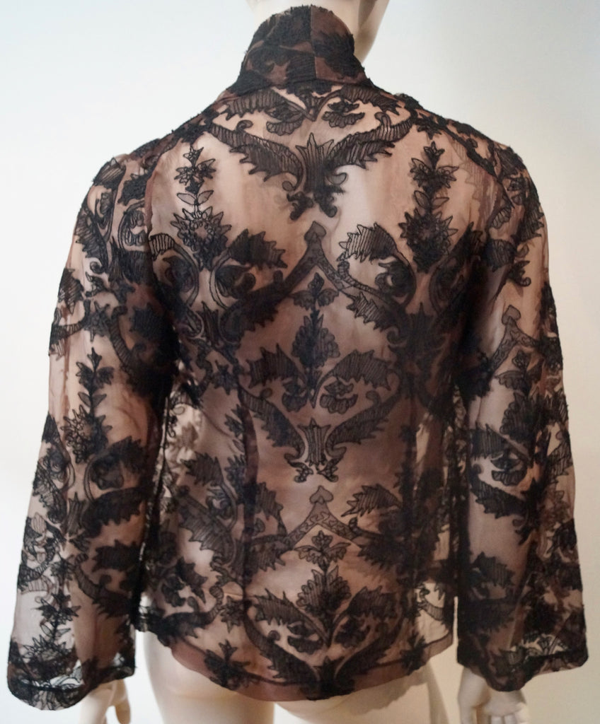 DANIELA VECCHI Brown Black Open Front Embroidery Sheer Evening Jacket 42 UK10