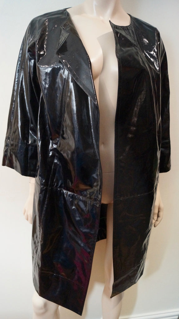 DKNY DONNA KARAN NEW YORK Women's Black Wool Blend Sheen Mac Trench Coat Sz:M