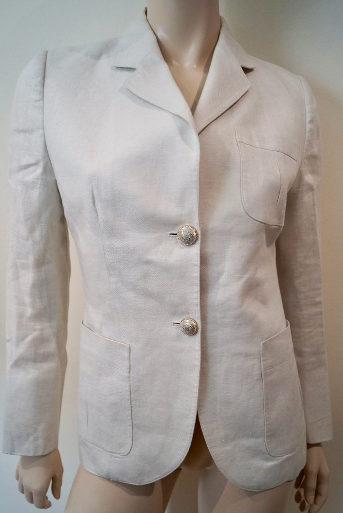 THE EXTREME COLLECTION Winter White 100% Lino Formal Blazer Jacket FR40 UK12