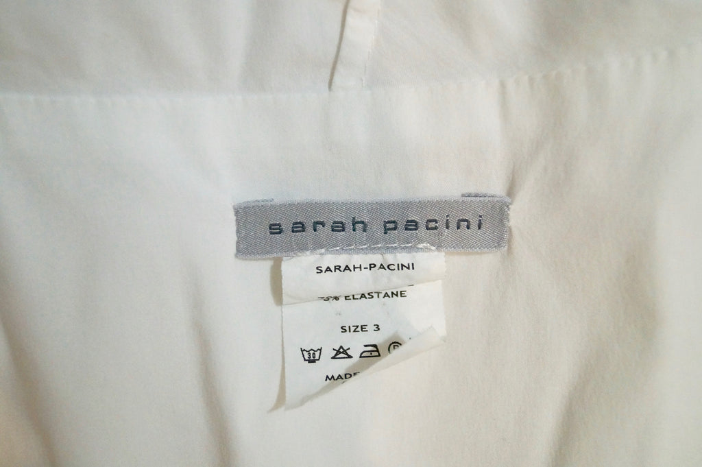 SARAH PACINI White Cotton Blend Draped Neckline Sleeveless Blouse Top Sz3; L