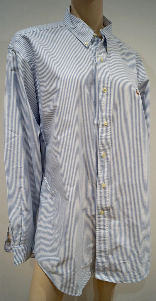 POLO RALPH LAUREN Menswear White Blue Cotton Stripe OXFORD Formal Shirt 34/35