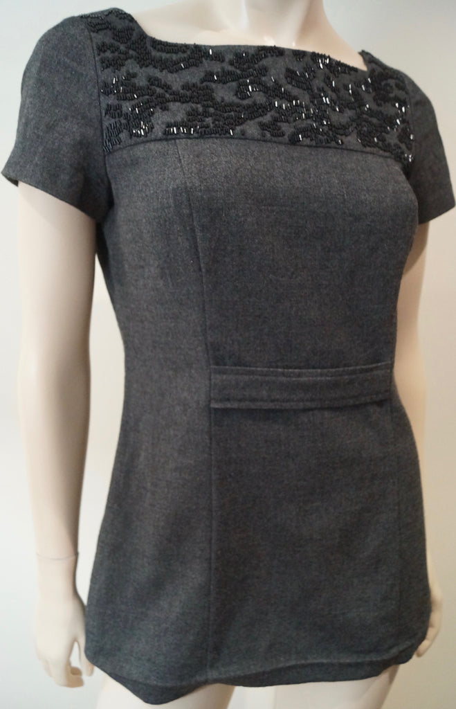 VERA WANG LAVENDER LABEL Womens Grey Beaded Neckline Short Sleeve Top US4 38 UK8