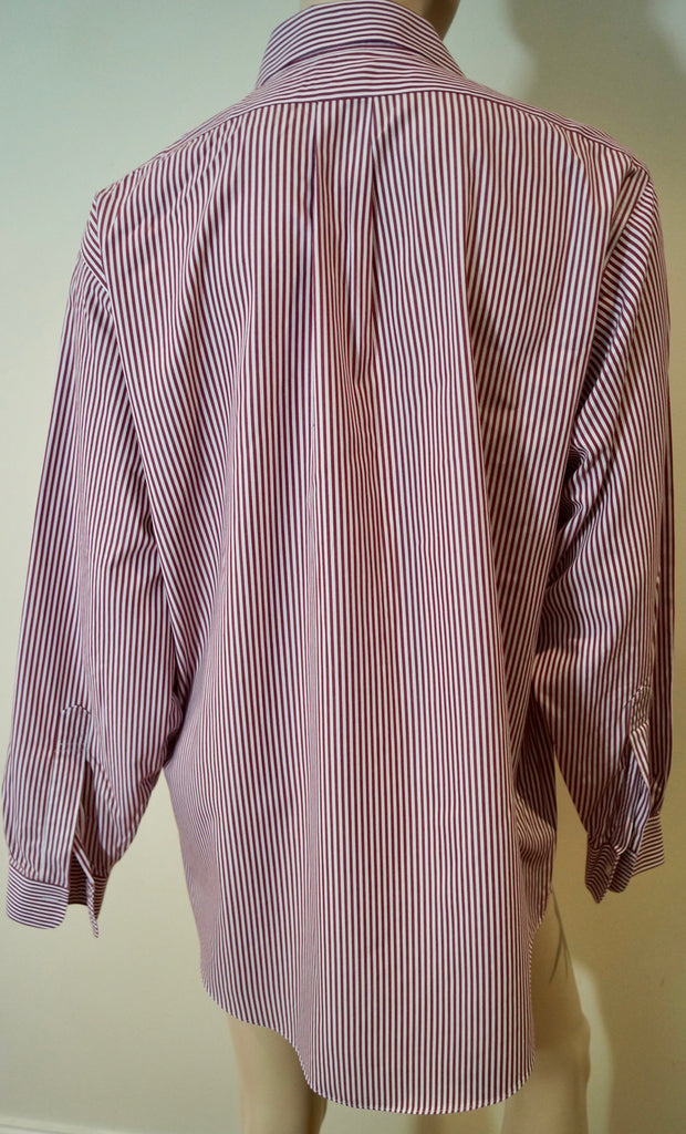 BROOKS BROTHERS Menswear Red & White Stripe Cotton Traditional Fit Formal Shirt