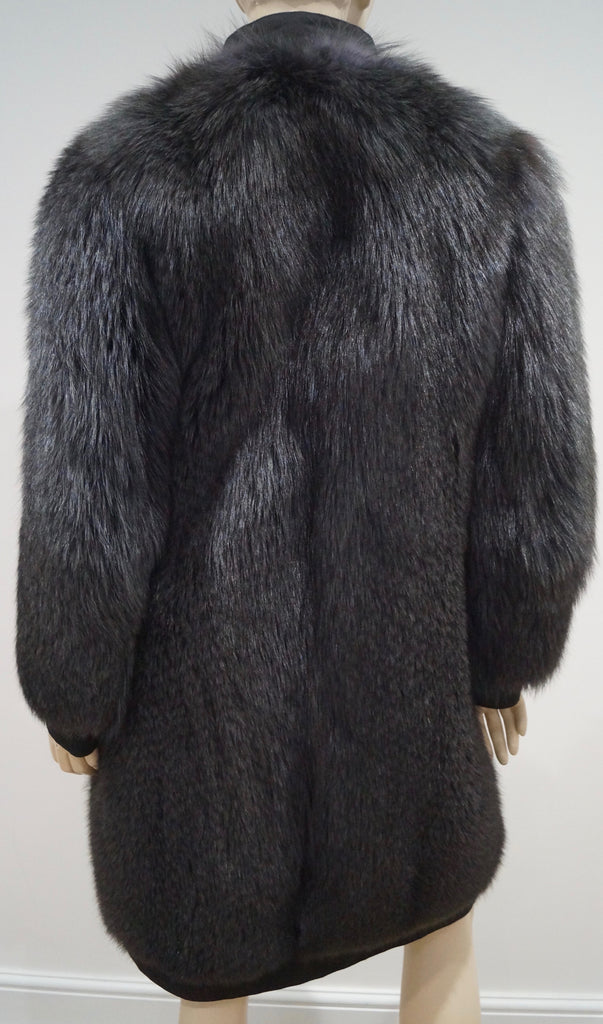 BALLY Designer Women's Black Thick Fur Funnel Neck Popper Fastened Winter Coat M