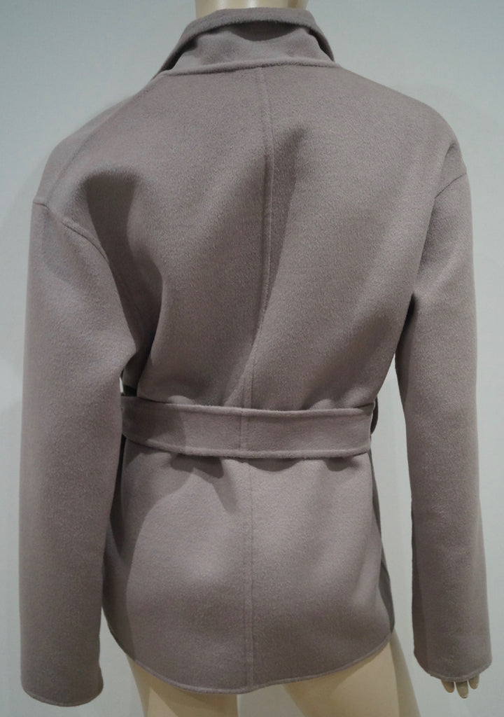 GUCCI Womens Pale Grey Wool & Angora Collared & Belted Cardigan Jacket IT44 UK12