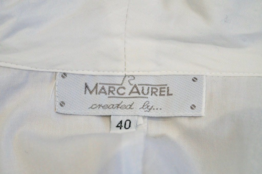 MARC AUREL White Cotton Collared V Neck Short Sleeve Blouse Shirt Top 40 UK12