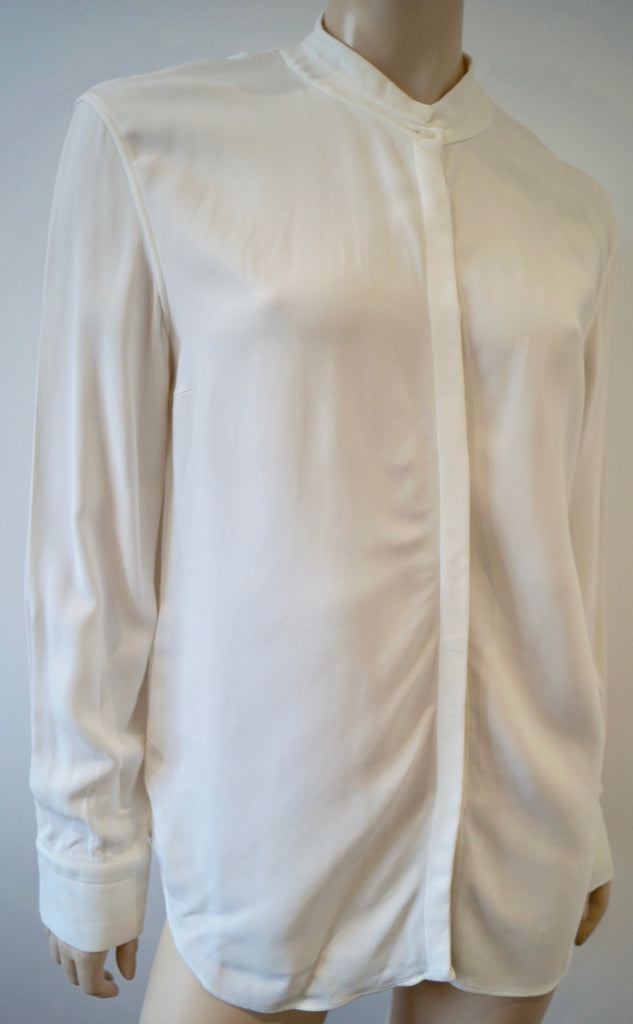 CALVIN KLEIN COLLECTION Winter White Collarless Formal Blouse Shirt Top 8/44 12
