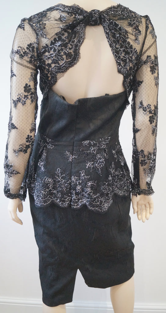 BADGLEY MISCHKA Black & Silver Metallic Floral Lace Detail Fitted Evening Dress