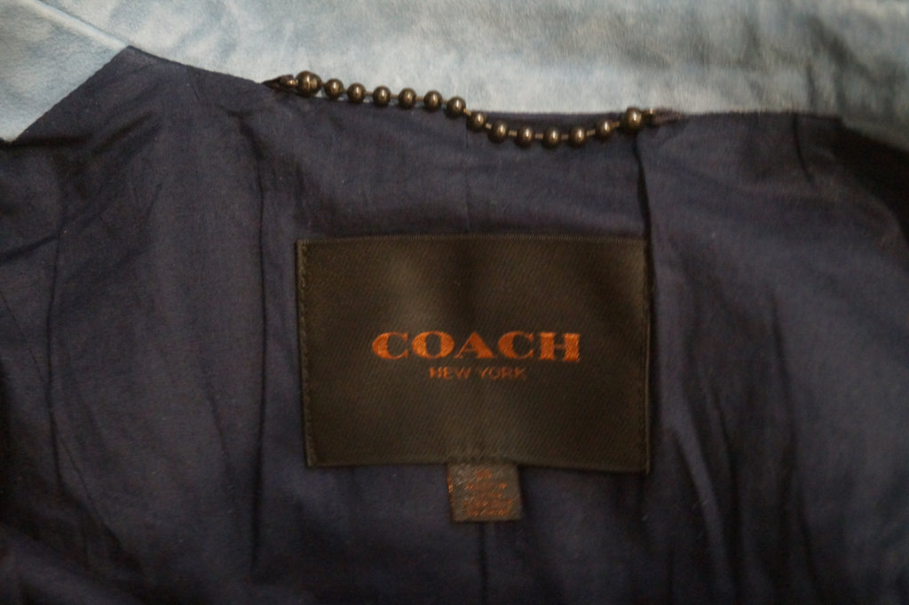 COACH NEW YORK Women's Blue Goat Suede Collared Lined Casual Biker Jacket 6 UK10