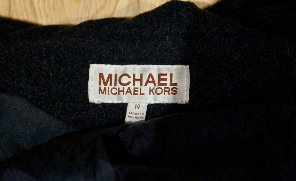 MICHAEL BY MICHAEL KORS Grey Wool Double Breasted Casual Hooded Jacket Sz14; L