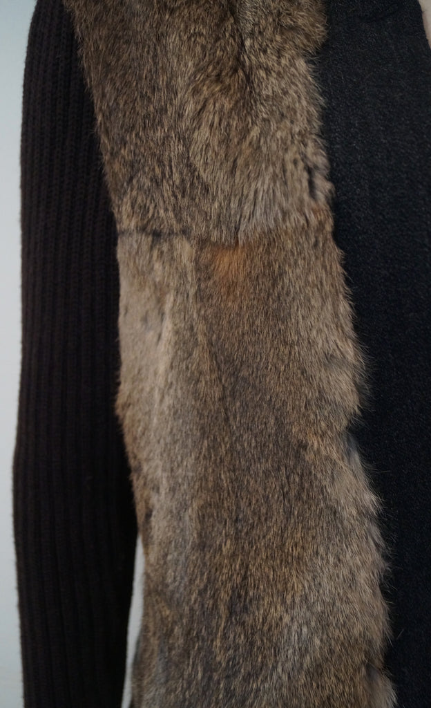 HOSS INTROPIA Charcoal Grey Wool & Beige Brown Rabbit Fur Jacket Coat F42 UK10