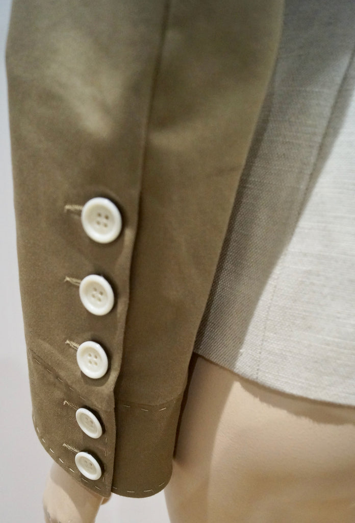 BARBARA BUI Cream Brown Flax Cotton & Leather Trim Lined Formal Blazer Jacket 38