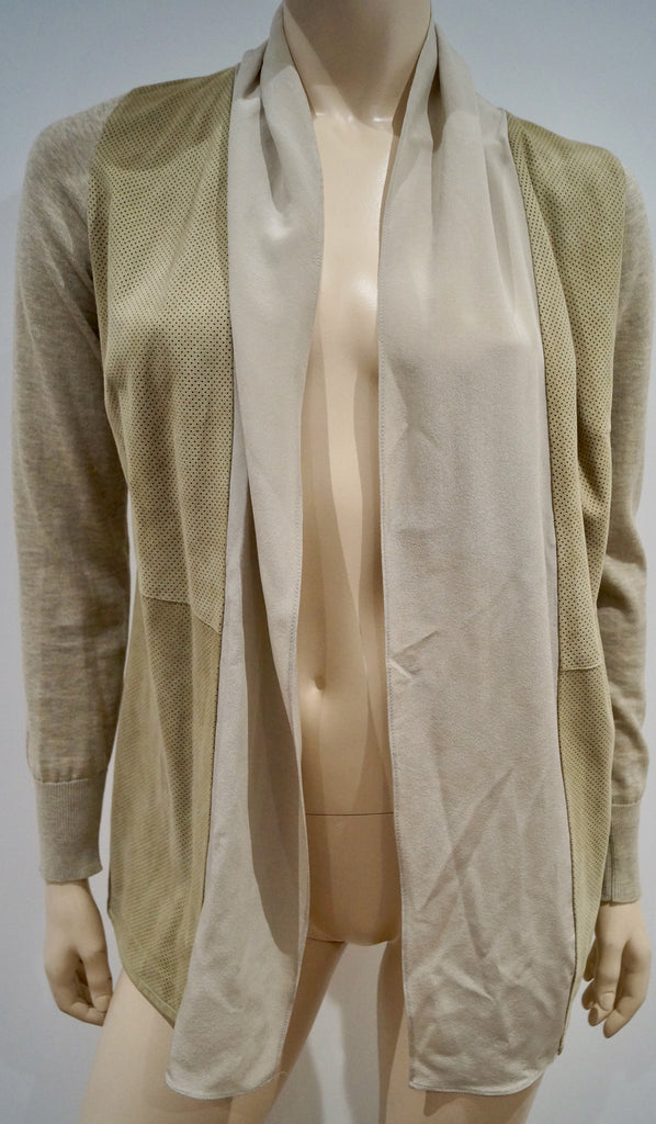 FABIANA FILIPPI Beige Leather Cotton & Silk Open Front Long Sleeve Cardigan Top