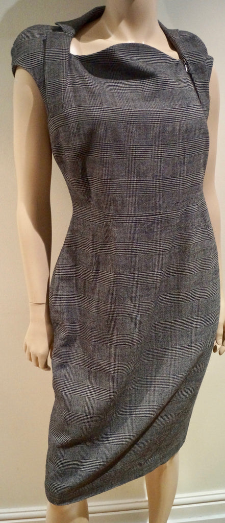 ANTONIO BERARDI Grey & Black Check Virgin Wool Stretch Formal Pencil Dress Sz:42