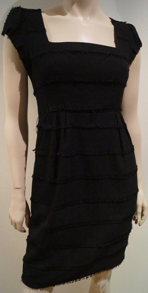 NANETTE LEPORE Black Layered Fray Cap Sleeve Pencil Evening Dress 2 EU36 UK6/8