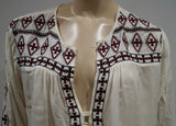 MELISSA ODABASH White 100% Rayon Stitch Detail 3/4 Sleeve Summer Kaftan Top
