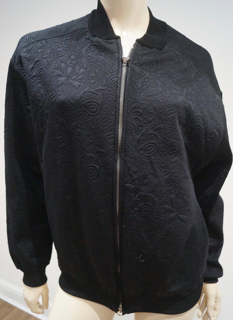 STELLA MCCARTNEY Black Floral Embossed Collarless Bomber Jacket Top IT38 UK8