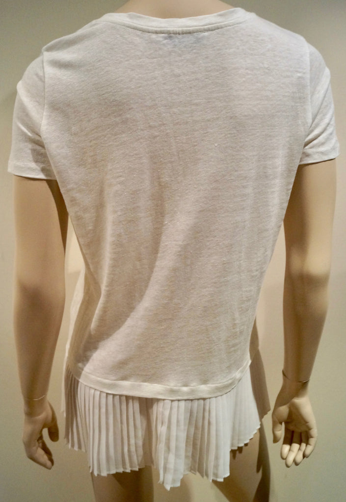 SANDRO Winter White 100% Linen Short Sleeve Pleated Hemline Summer Top Sz: 2 M