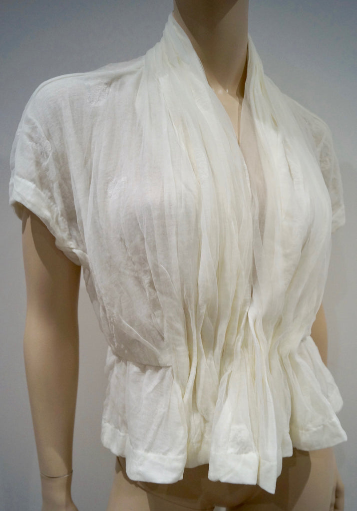 TSUMORI CHISATO Winter White Cotton Blend Heavily Gathered Chiffon Blouse Top 2/S