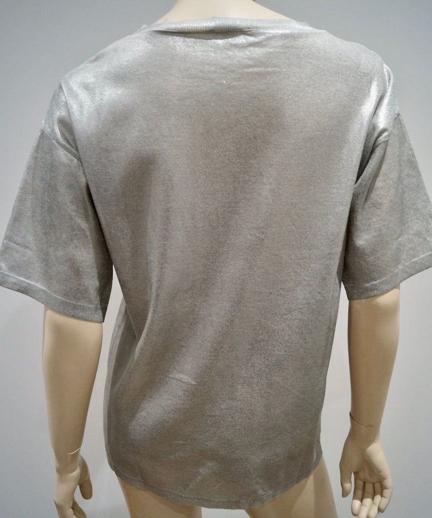 PHILOSOPHY Made In Italy Silver Sheen 100% Cotton Round Neck Short Sleeve Top M