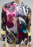 PREEN LINE Multicolour Silk Abstract Print Collarless Long Sleeve Blouse Shirt S