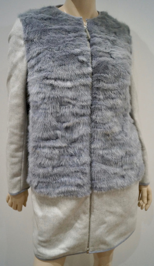 FABIANA FILIPPI Grey & Cream Merino Wool & Real Mink Fur Panelled Coat I42; UK10