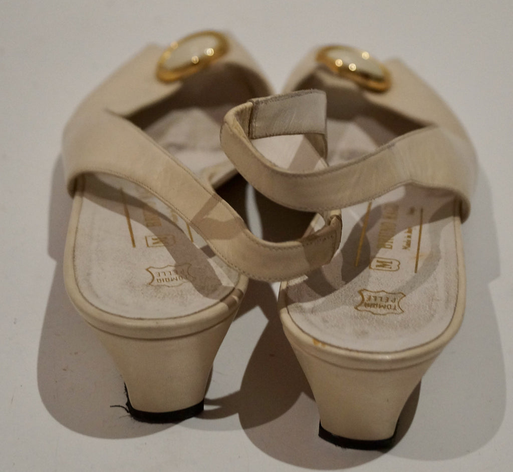 BRUNO MAGLI Cream Leather Broach Detail Peep Toe Sling Back Sandals Shoes EU41.5