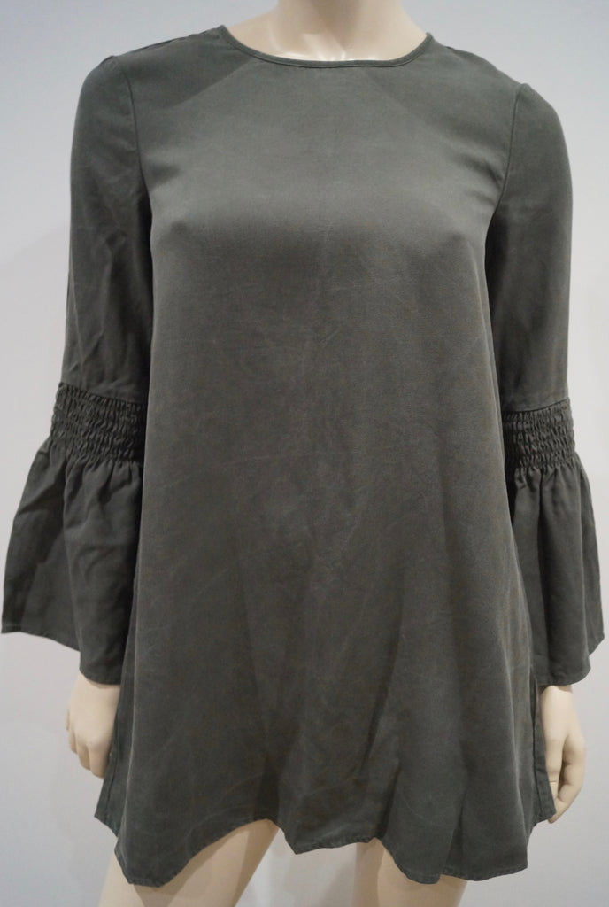BCBG GENERATION Khaki Green Round Neck 3/4 Sleeve Pleated Cuff Tunic Top XXS