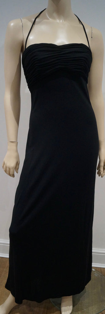 LA PERLA Made In Italy Black Ruched Bust Halter Sleeveless Evening Maxi Dress 46