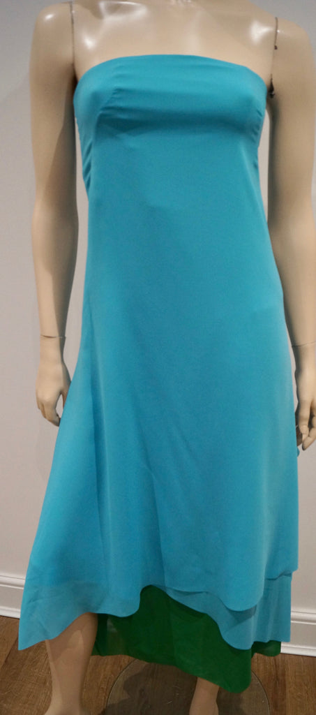 CEDRIC CHARLIER Aqua Blue & Green Bandeau Sleeveless Evening Dress I40 UK8 BNWT