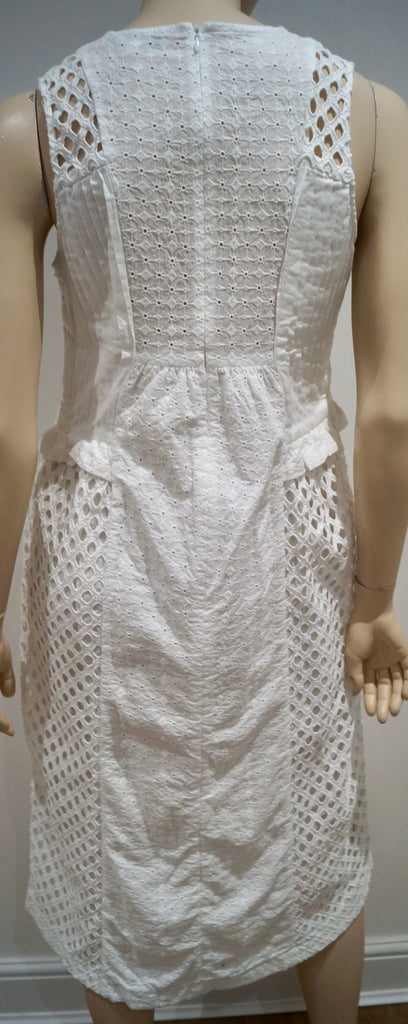 PAUL & JOE White 100% Cotton V Neck Crochet Detail Sleeveless Pleated Dress FR38