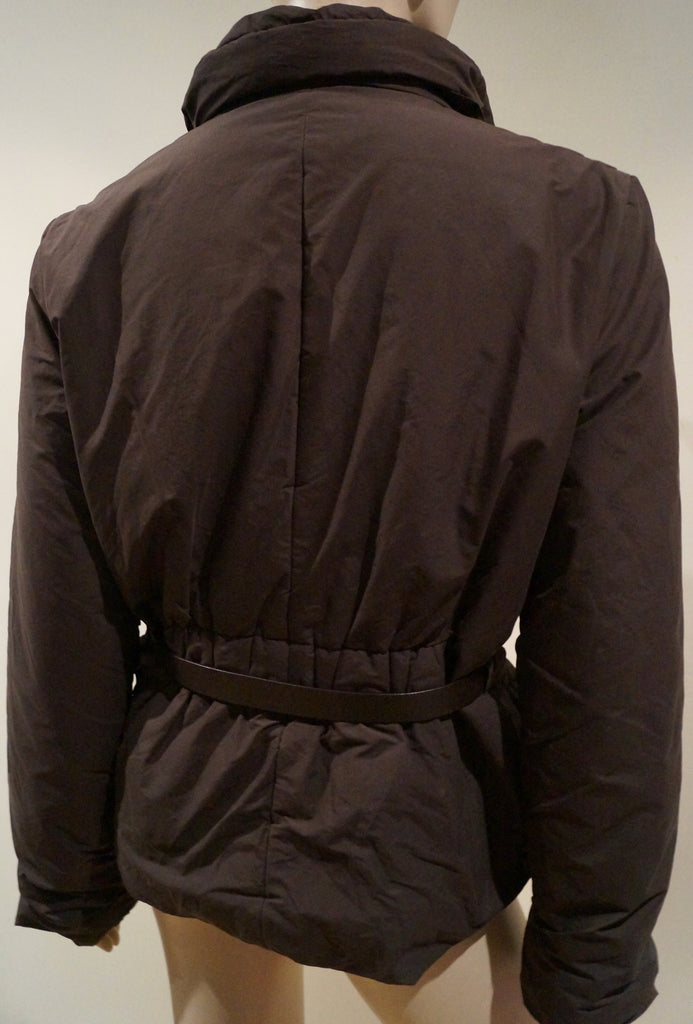 JOSEPH Brown Cotton Blend Funnel Neck Belted Casual Padded Jacket FR40 UK12