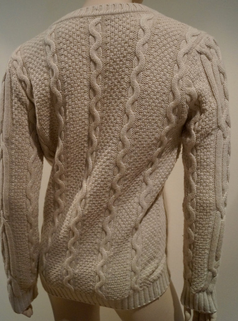 FLAVIO CASTELLANI Beige Wool & Cashmere Plunge V Neck Cable Knit Cardigan IT40