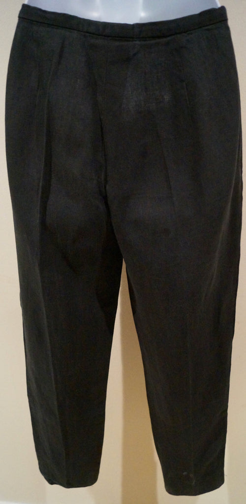 MAXMARA PURO LINO Charcoal Grey 100% Linen Tapered Crop Capri Trousers Pants US6