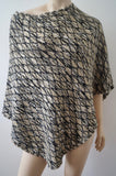 MISSONI Orange Label Black Beige Silver Metallic Wool Blend Knitwear Poncho Top