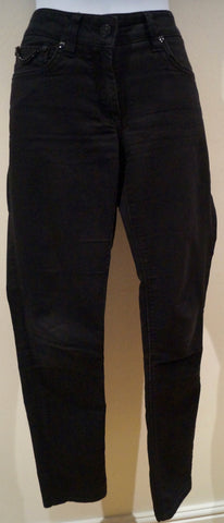 409a2580d9f4 Burberry. BURBERRY Black Charcoal Cotton Blend Branded Chain Detail Skinny  Slim Fit Jeans