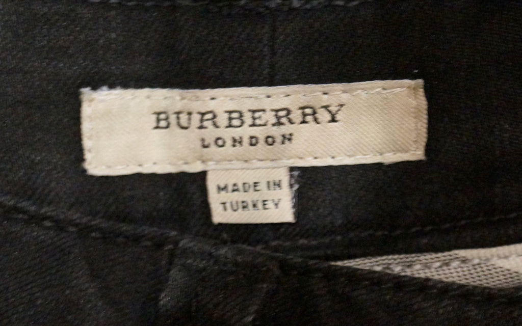 BURBERRY Black Charcoal Cotton Blend Branded Chain Detail Skinny Slim Fit Jeans