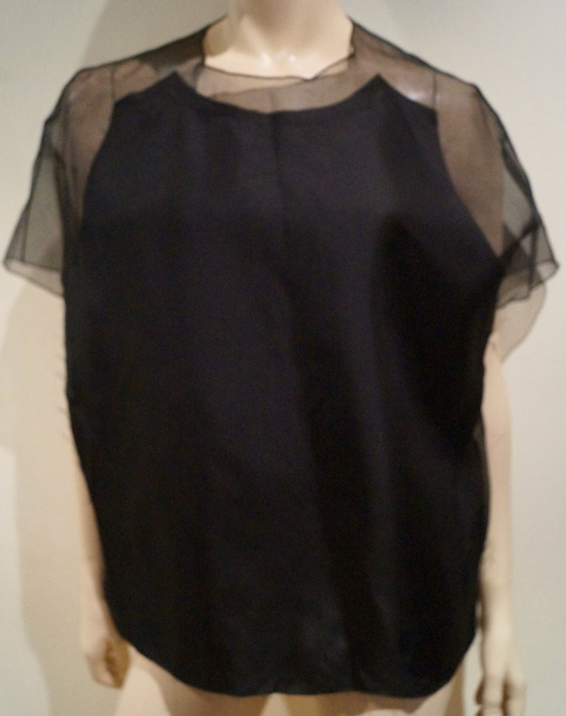 ACNE Black 100% Silk AZADE Organza Panelled Short Sleeve Blouse Top FR40 UK12