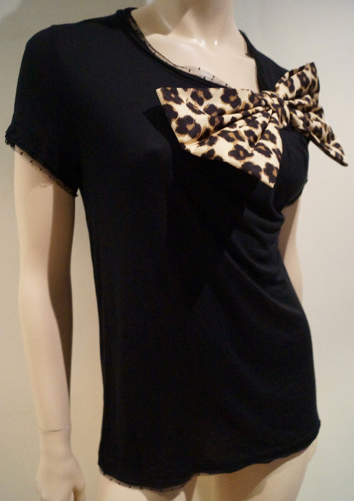 RED VALENTINO Black Modal Leopard Print Bow Detail Short Sleeve T-Shirt Tee Top