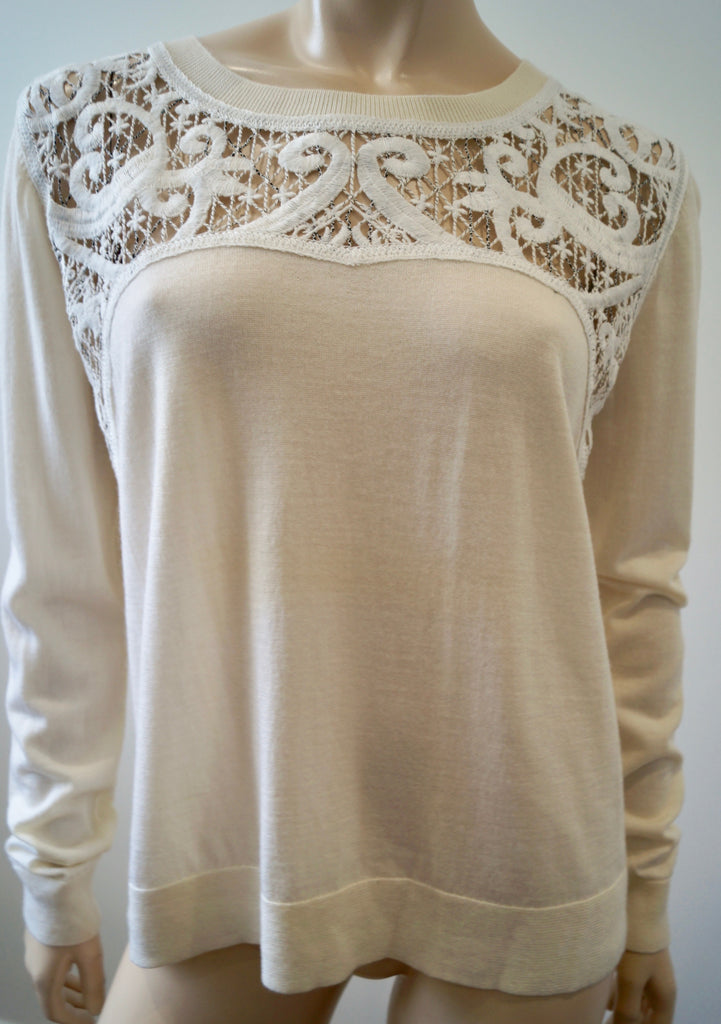 THE KOOPLES Cream 100% Merino Embroidery Detail Long Sleeve Jumper Sweater Top L