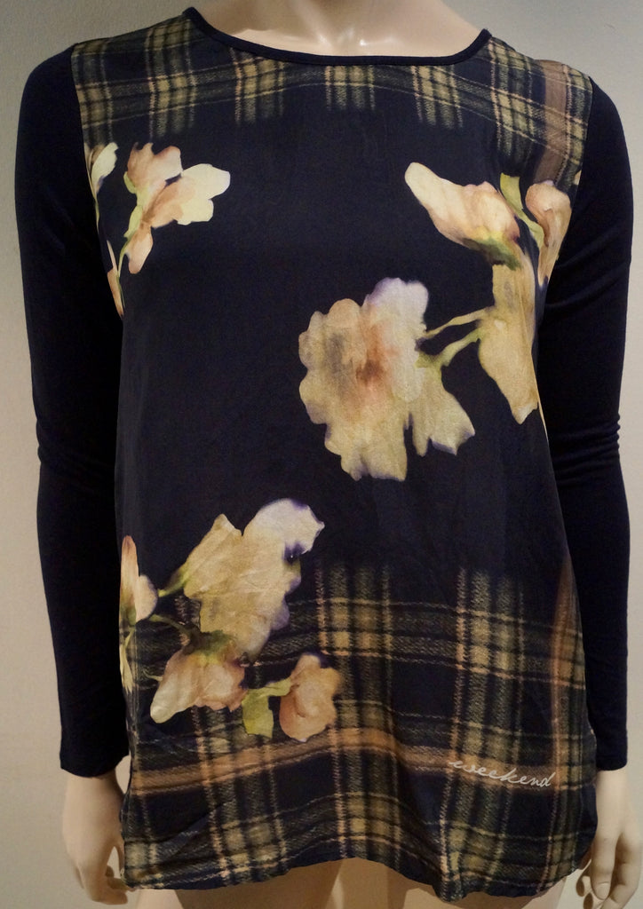 WEEKEND MAXMARA Women's Multi Colour Floral & Check Print Long Sleeve Blouse Top