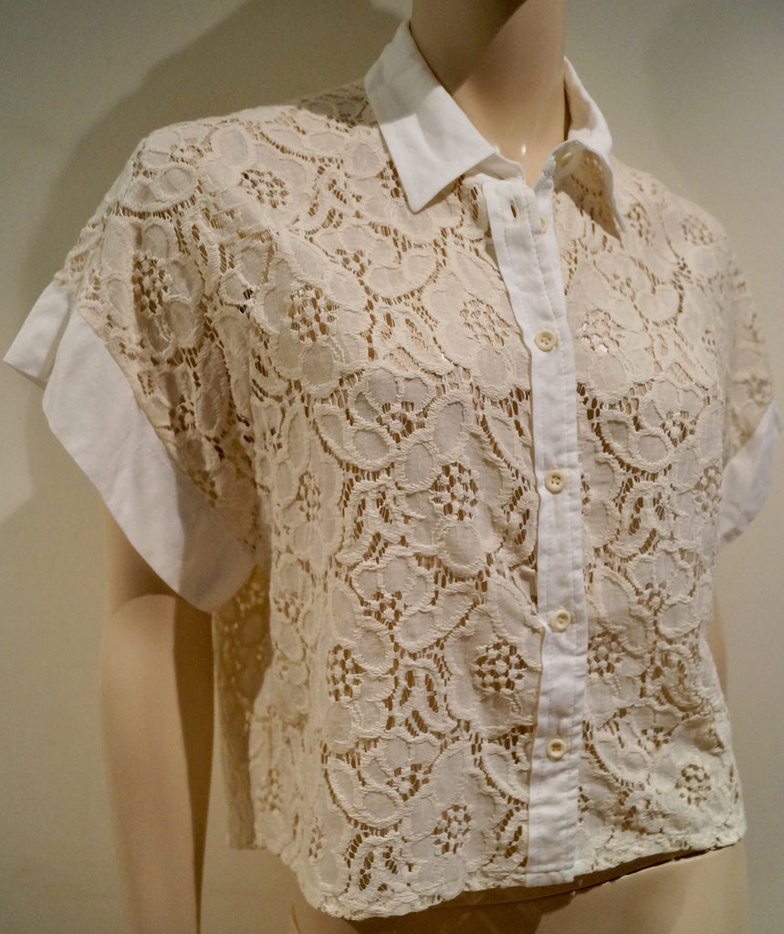 ADDLOFT Cream & White Floral Lace Collared Short Sleeve Blouse Shirt Top S BNWT