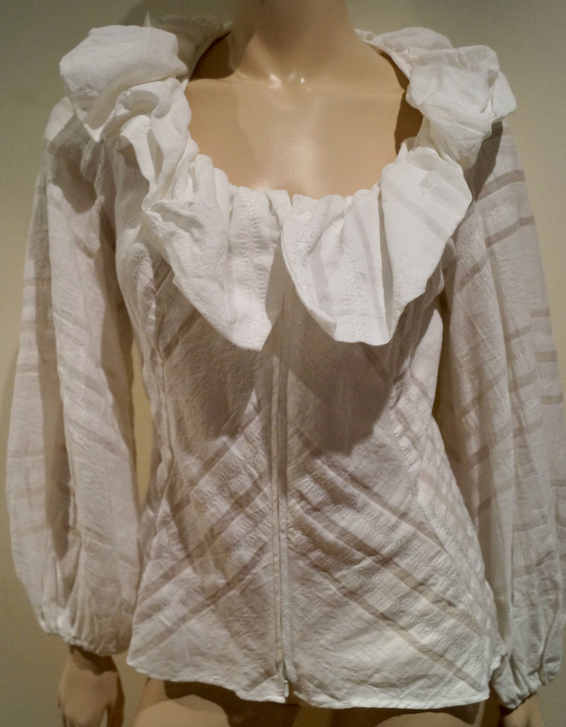 ANNE FONTAINE Winter White Large Ruffle Collared Zip Fasten Blouse Shirt Top F38
