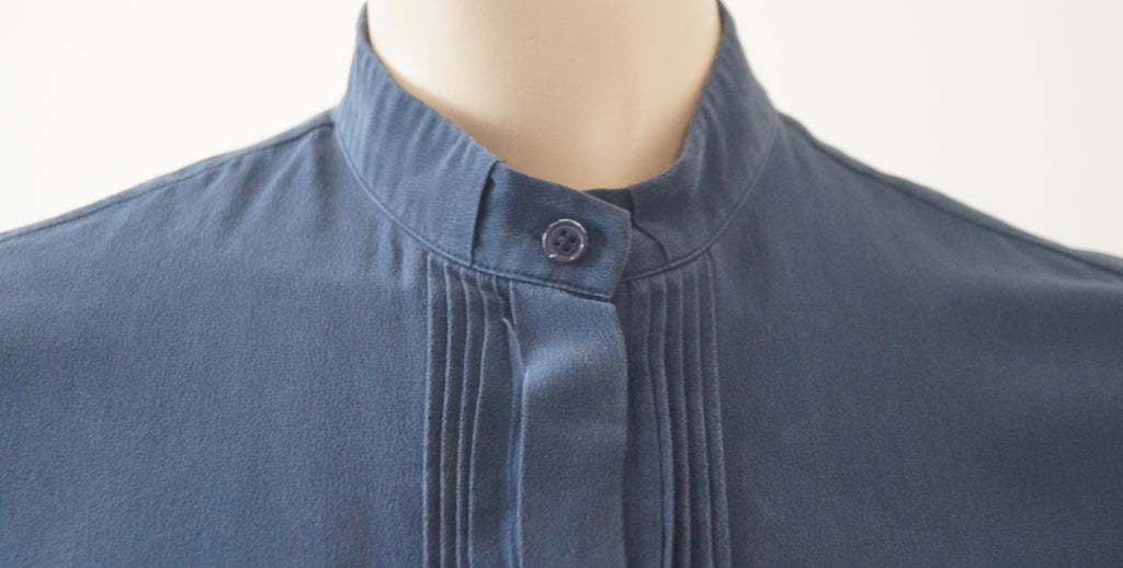 JOSEPH Blue 100% Silk Collared & Pleated Long Sleeve Blouse Shirt Top FR40; UK12
