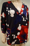 DVF DIANE VON FURSTENBERG Black & Multi-Colour Abstract Print Blouse Top 10 UK14