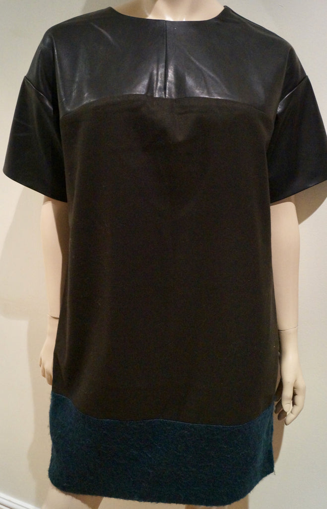 BANANA REPUBLIC Black Faux Leather Round Neck Short Sleeve Tunic Dress Sz:M