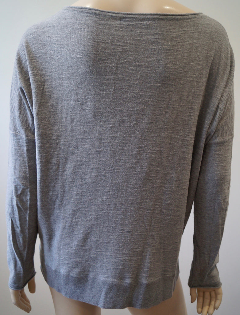 VINCE Pale Grey 100% Cotton Scoop Neck Long Sleeve Casual Jumper Sweater Top M