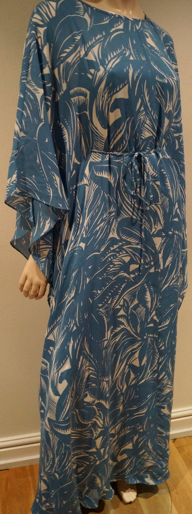 TORY BURCH Blue & Cream Silk Tropical Print Batwing Belted Maxi Kaftan Dress  4